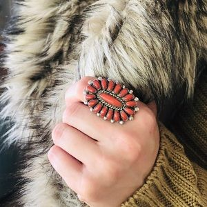 ♥️ Zuni ♥️ Red Coral Ring